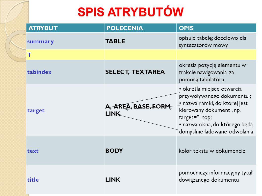 SPIS ATRYBUTÓW ATRYBUT POLECENIA OPIS summary TABLE
