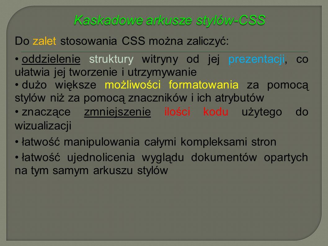 Kaskadowe arkusze stylów-CSS