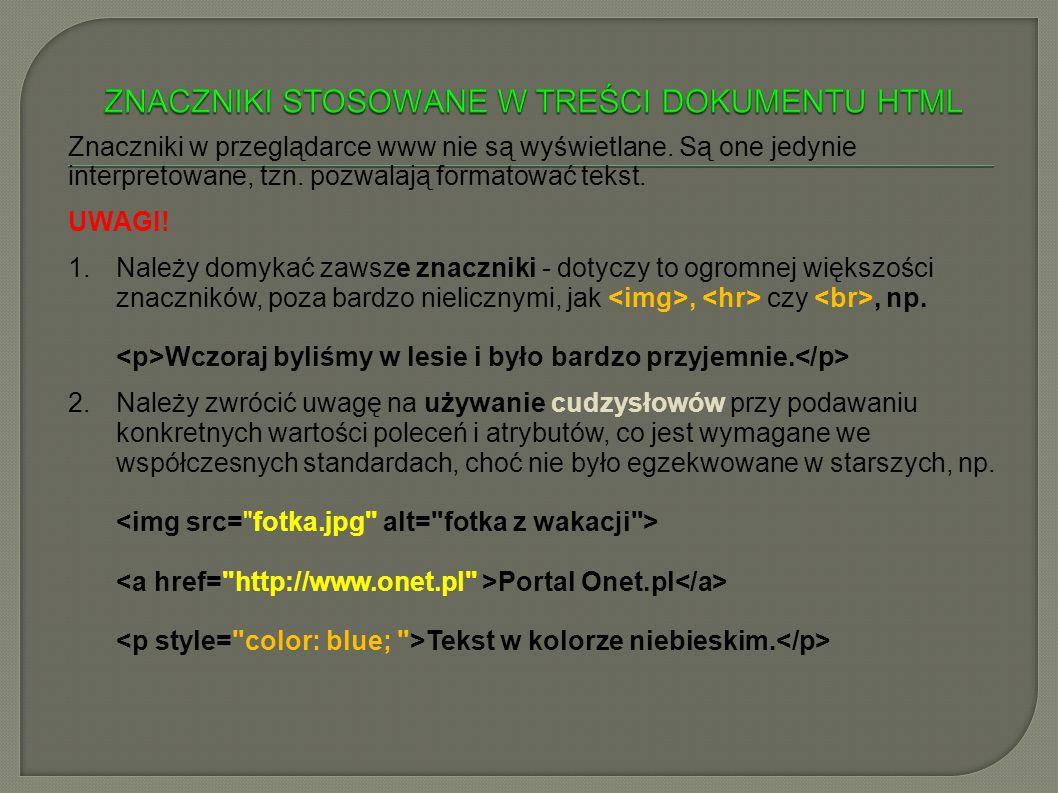 ZNACZNIKI STOSOWANE W TREŚCI DOKUMENTU HTML