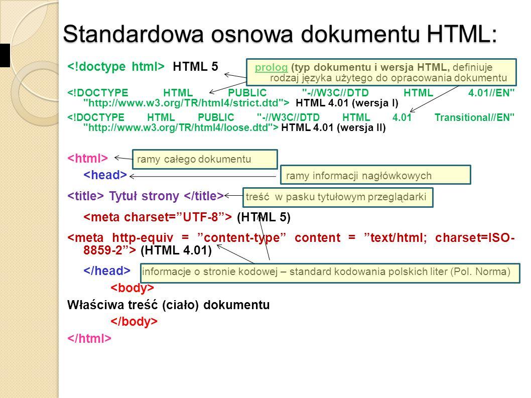 Standardowa osnowa dokumentu HTML:
