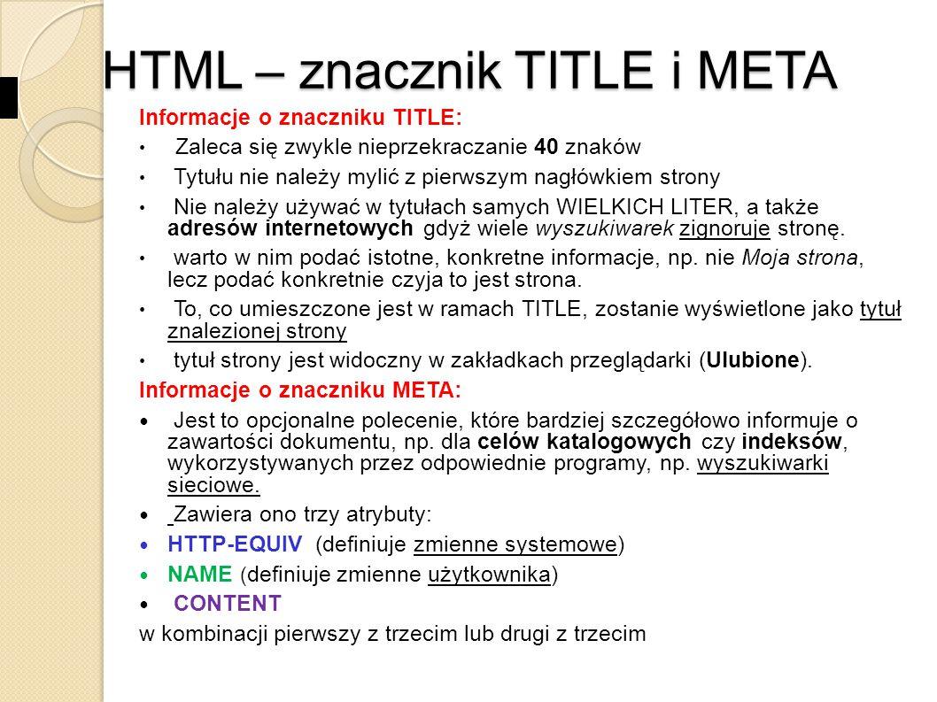 HTML – znacznik TITLE i META