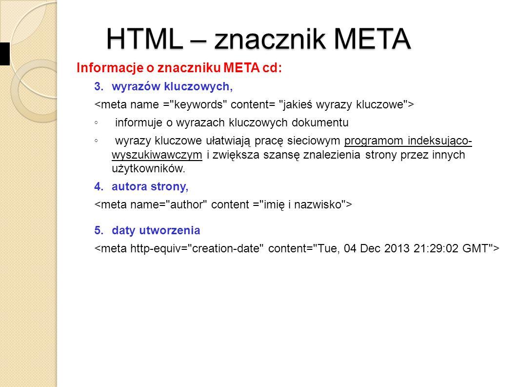 HTML – znacznik META Informacje o znaczniku META cd: