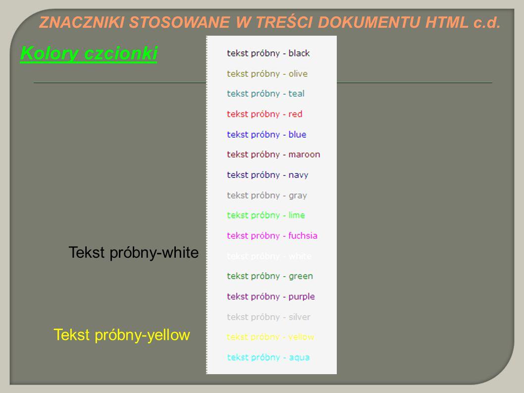 Kolory czcionki ZNACZNIKI STOSOWANE W TREŚCI DOKUMENTU HTML c.d.