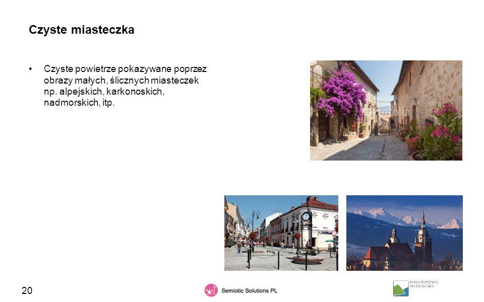 Czyste miasteczka Czyste powietrze pokazywane poprzez obrazy małych, ślicznych miasteczek np.