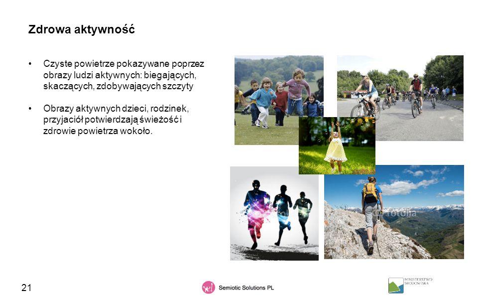 Zdrowa aktywność Czyste powietrze pokazywane poprzez obrazy ludzi aktywnych: biegających, skaczących, zdobywających szczyty.