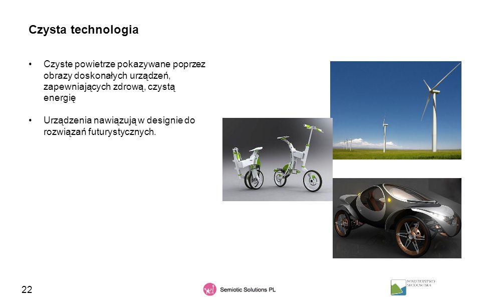 Czysta technologia Czyste powietrze pokazywane poprzez obrazy doskonałych urządzeń, zapewniających zdrową, czystą energię.