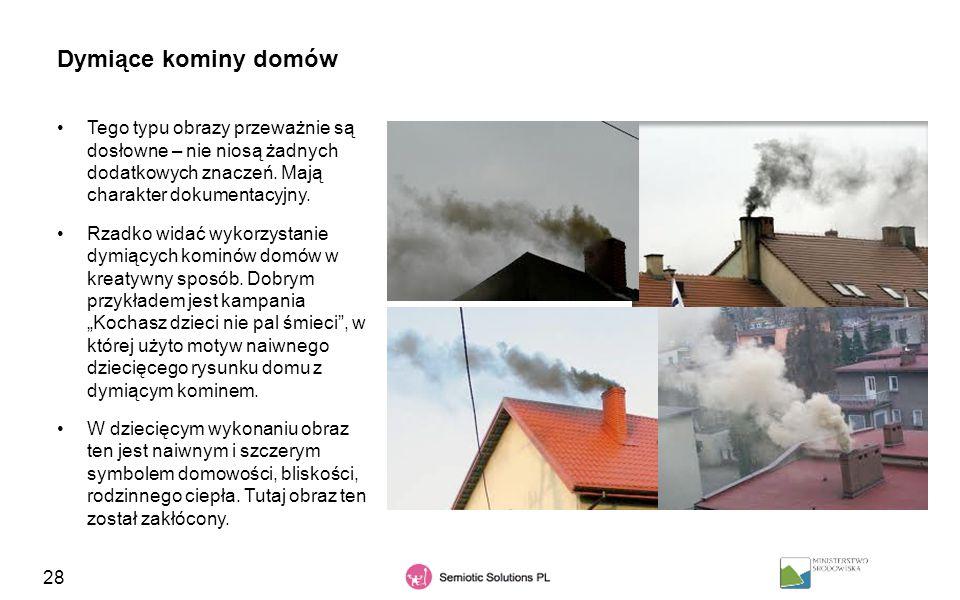 Dymiące kominy domów Tego typu obrazy przeważnie są dosłowne – nie niosą żadnych dodatkowych znaczeń. Mają charakter dokumentacyjny.