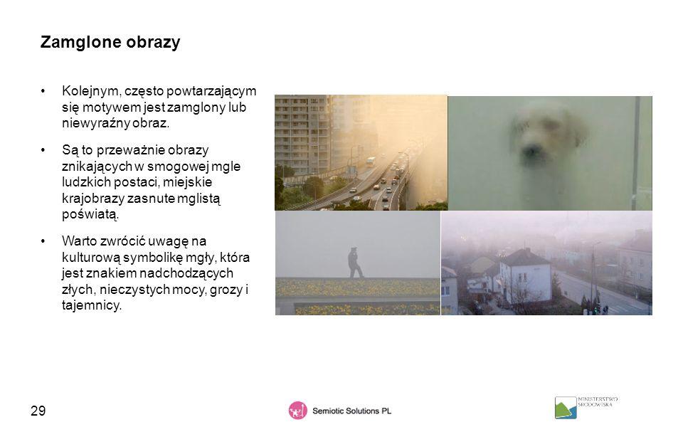 Zamglone obrazy Kolejnym, często powtarzającym się motywem jest zamglony lub niewyraźny obraz.
