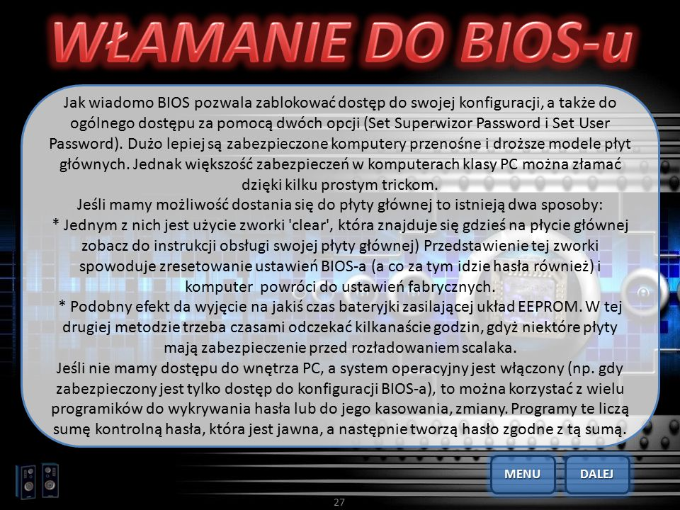 WŁAMANIE DO BIOS-u