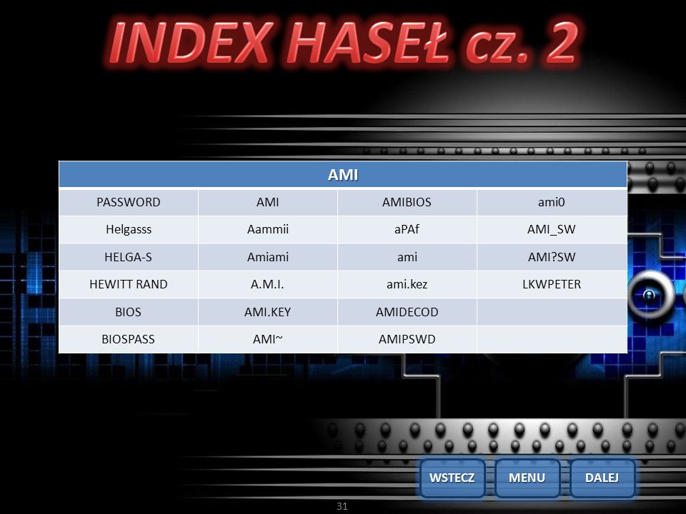 INDEX HASEŁ cz. 2 AMI PASSWORD AMIBIOS ami0 Helgasss Aammii aPAf