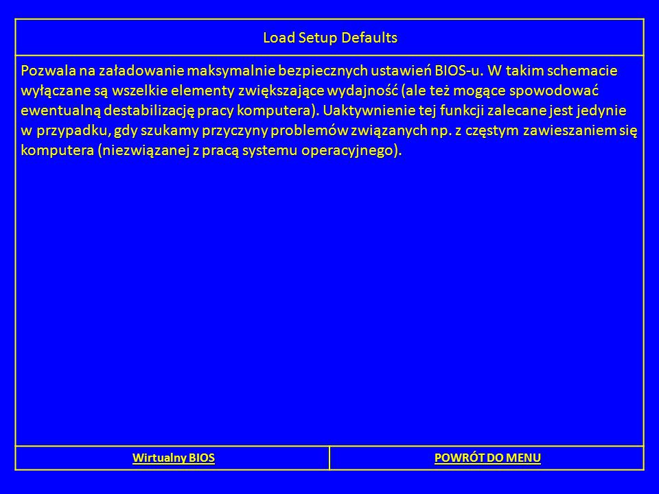 Load Setup Defaults