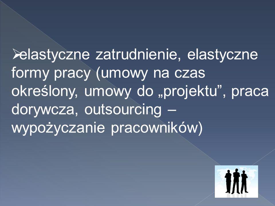 """elastyczne zatrudnienie, elastyczne formy pracy (umowy na czas określony, umowy do """"projektu , praca dorywcza, outsourcing – wypożyczanie pracowników)"""