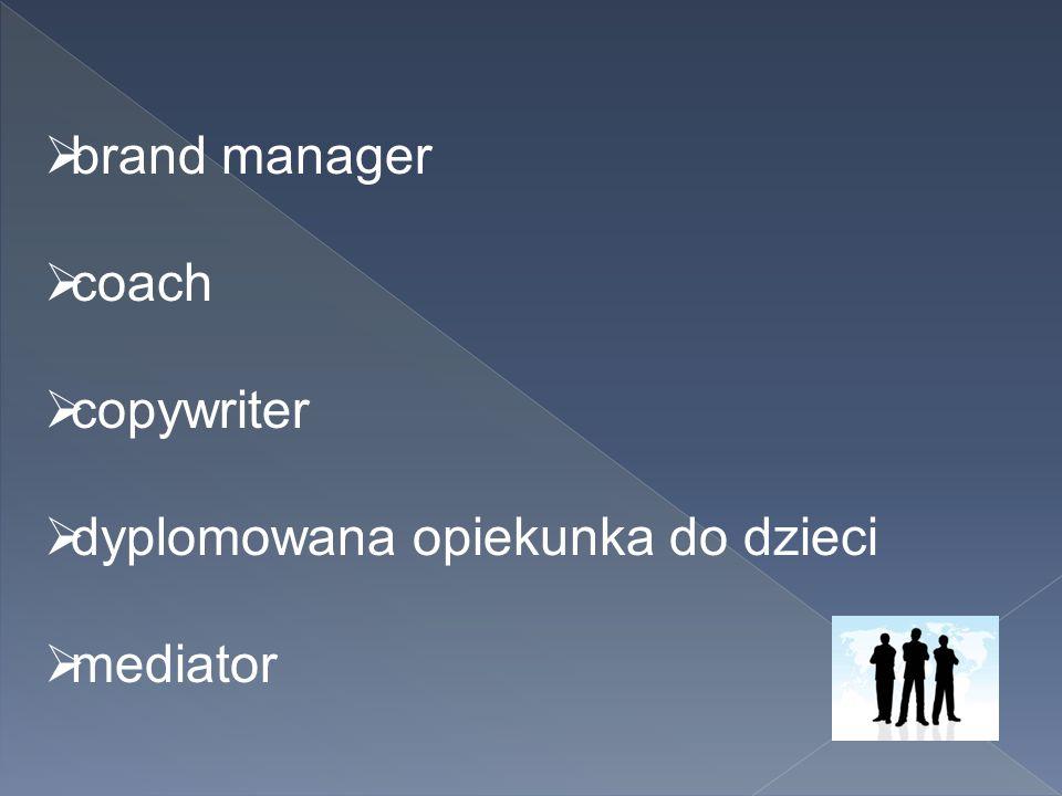 brand manager coach copywriter dyplomowana opiekunka do dzieci mediator