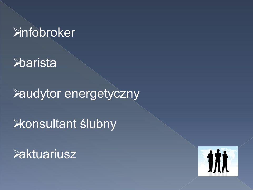 infobroker barista audytor energetyczny konsultant ślubny aktuariusz