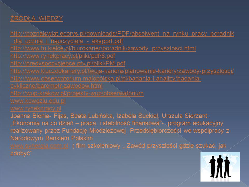 ŹRÓDŁA WIEDZY http://poznajswiat.ecorys.pl/downloads/PDF/absolwent_na_rynku_pracy_poradnik_dla_ucznia_i_nauczyciela_-_eksport.pdf.