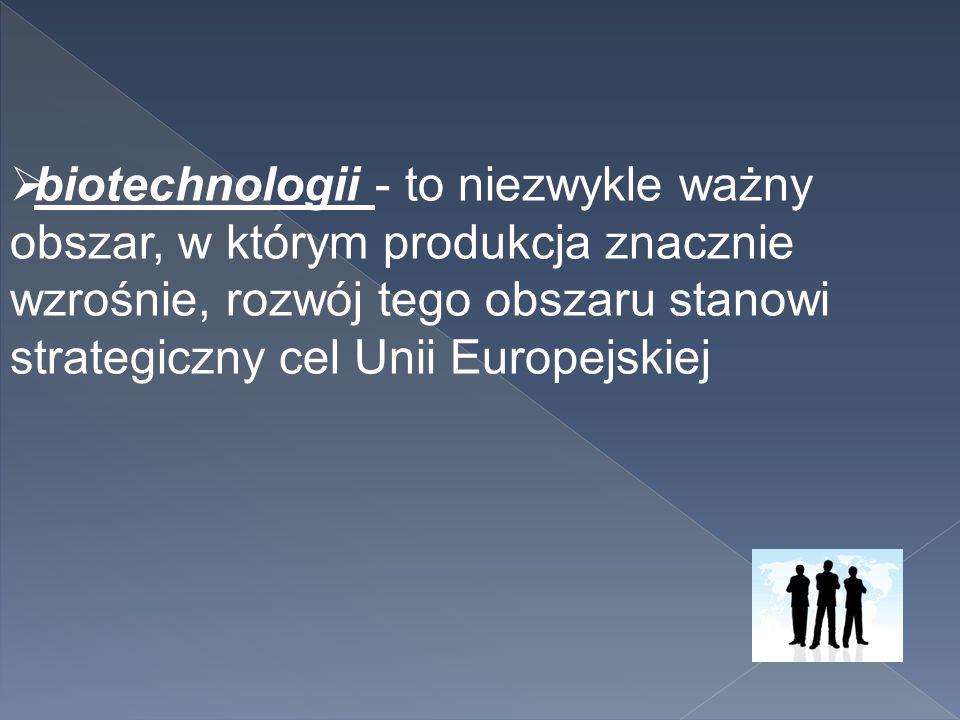 biotechnologii - to niezwykle ważny obszar, w którym produkcja znacznie wzrośnie, rozwój tego obszaru stanowi strategiczny cel Unii Europejskiej