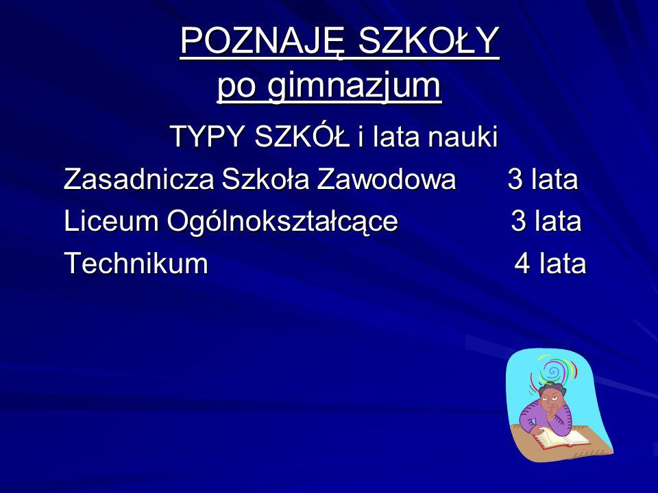 POZNAJĘ SZKOŁY po gimnazjum
