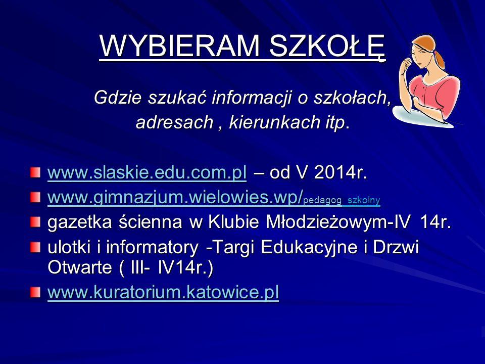 WYBIERAM SZKOŁĘ Gdzie szukać informacji o szkołach,