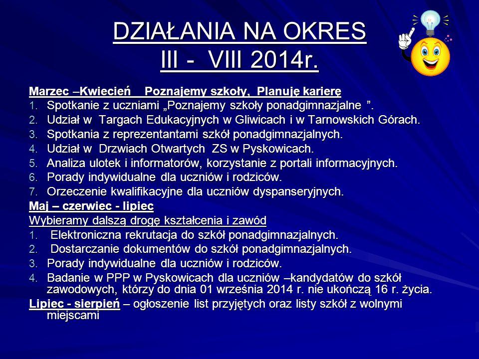 DZIAŁANIA NA OKRES III - VIII 2014r.