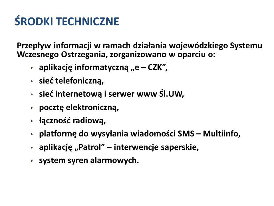 ŚRODKI TECHNICZNE Przepływ informacji w ramach działania wojewódzkiego Systemu Wczesnego Ostrzegania, zorganizowano w oparciu o:
