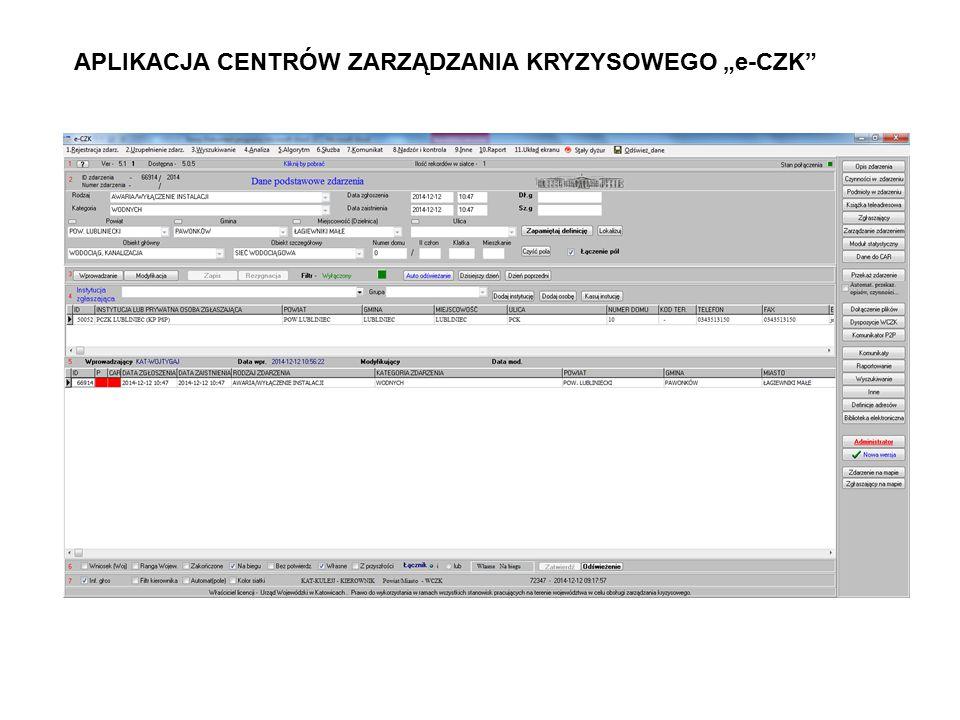 """APLIKACJA CENTRÓW ZARZĄDZANIA KRYZYSOWEGO """"e-CZK"""