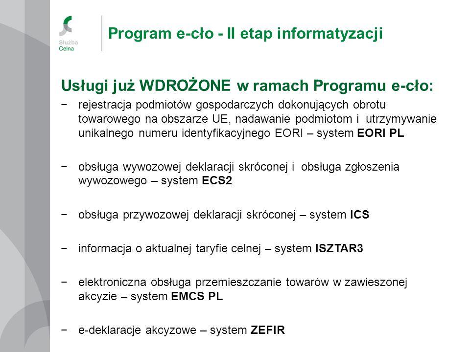 Program e-cło - II etap informatyzacji