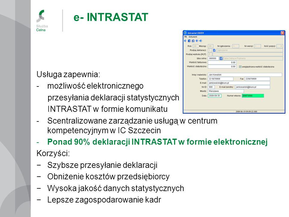 e- INTRASTAT Usługa zapewnia: możliwość elektronicznego