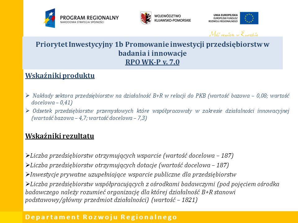 Priorytet Inwestycyjny 1b Promowanie inwestycji przedsiębiorstw w badania i innowacje RPO WK-P v. 7.0