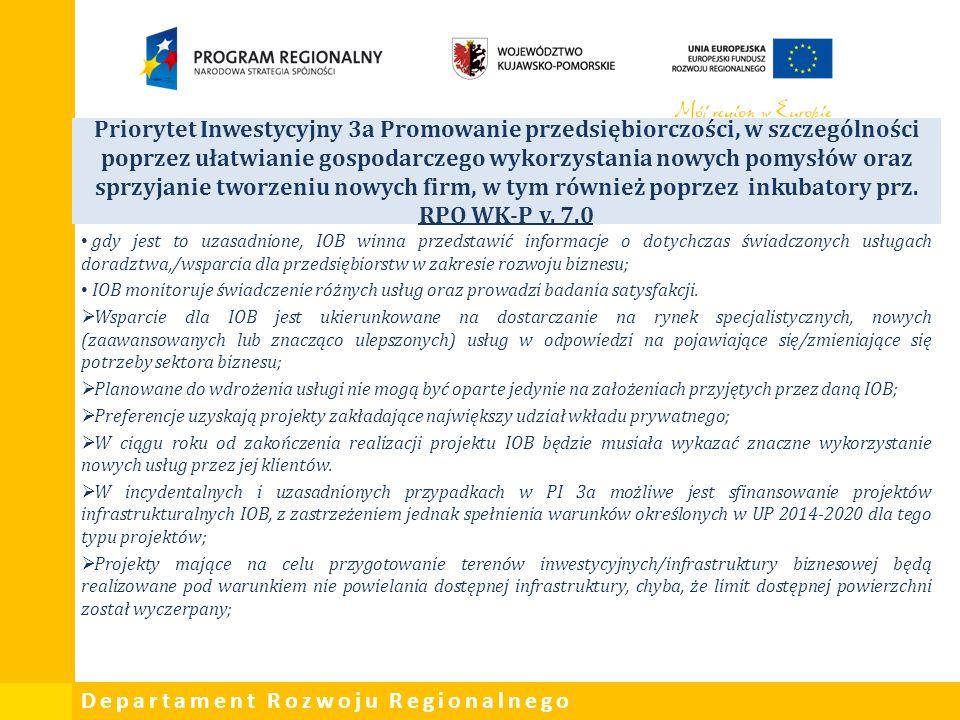 Priorytet Inwestycyjny 3a Promowanie przedsiębiorczości, w szczególności poprzez ułatwianie gospodarczego wykorzystania nowych pomysłów oraz sprzyjanie tworzeniu nowych firm, w tym również poprzez inkubatory prz. RPO WK-P v. 7.0