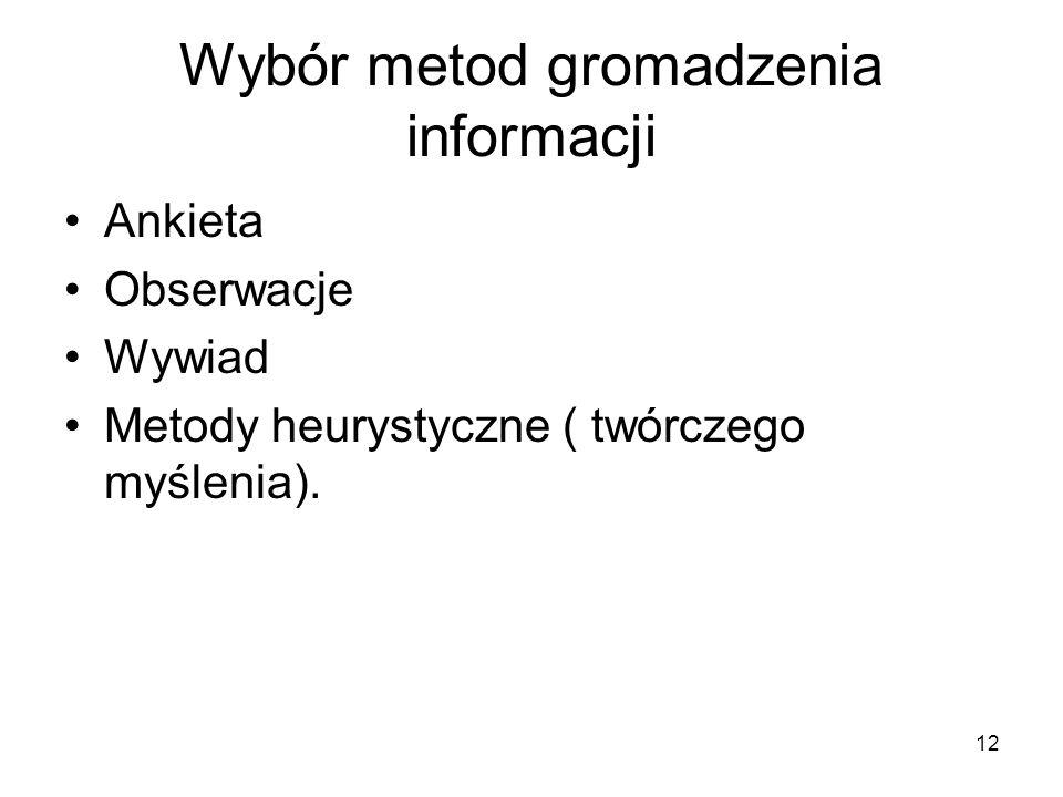 Wybór metod gromadzenia informacji