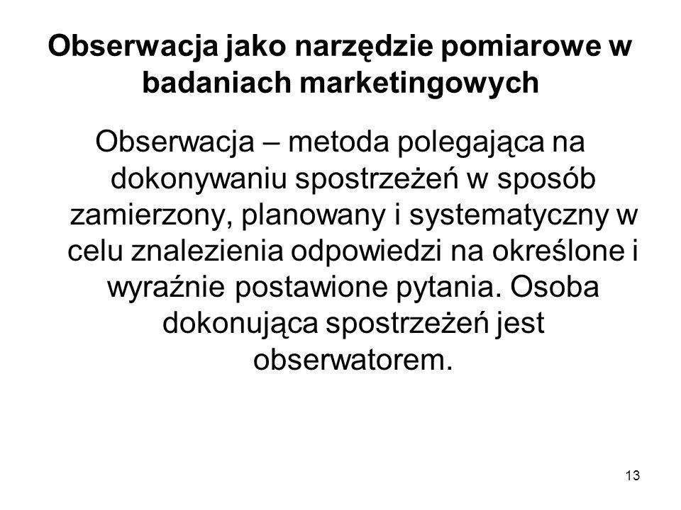 Obserwacja jako narzędzie pomiarowe w badaniach marketingowych
