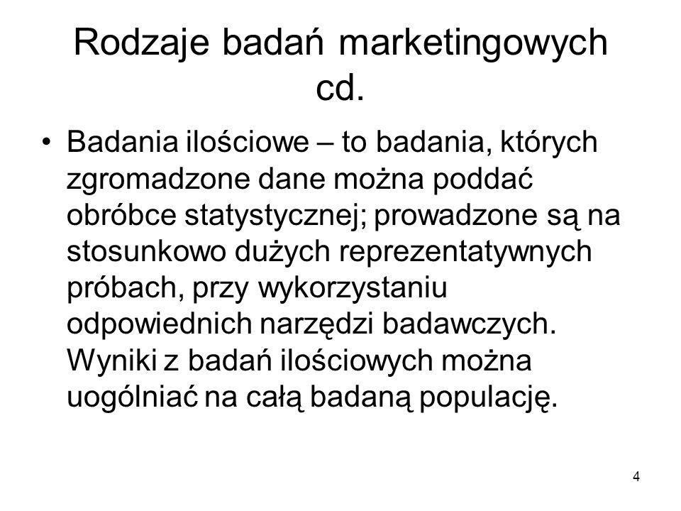 Rodzaje badań marketingowych cd.