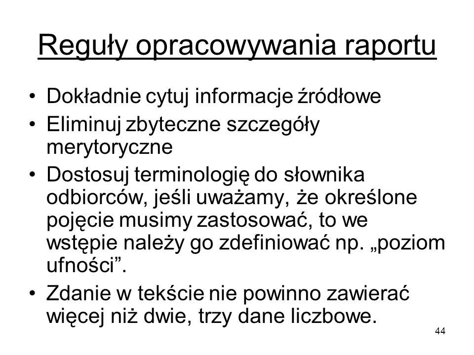 Reguły opracowywania raportu