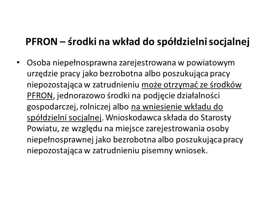 PFRON – środki na wkład do spółdzielni socjalnej