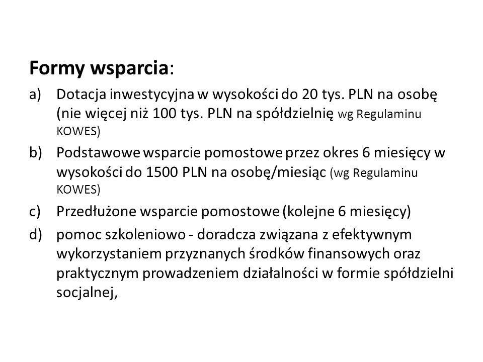 Formy wsparcia: Dotacja inwestycyjna w wysokości do 20 tys. PLN na osobę (nie więcej niż 100 tys. PLN na spółdzielnię wg Regulaminu KOWES)
