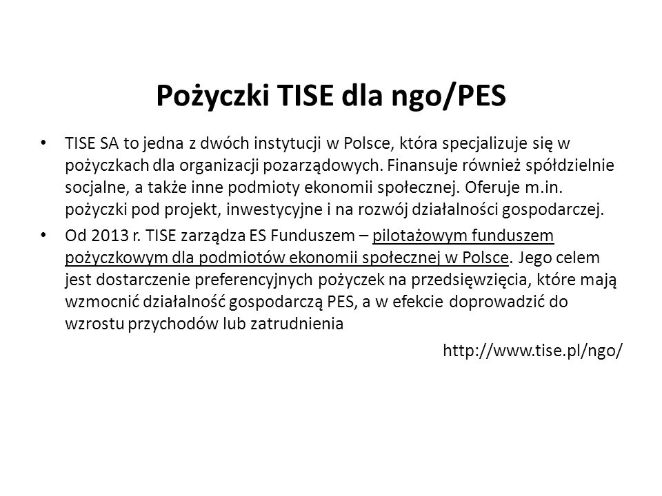 Pożyczki TISE dla ngo/PES