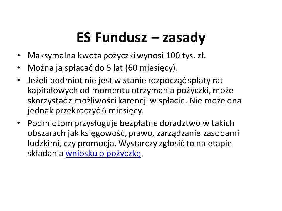 ES Fundusz – zasady Maksymalna kwota pożyczki wynosi 100 tys. zł.