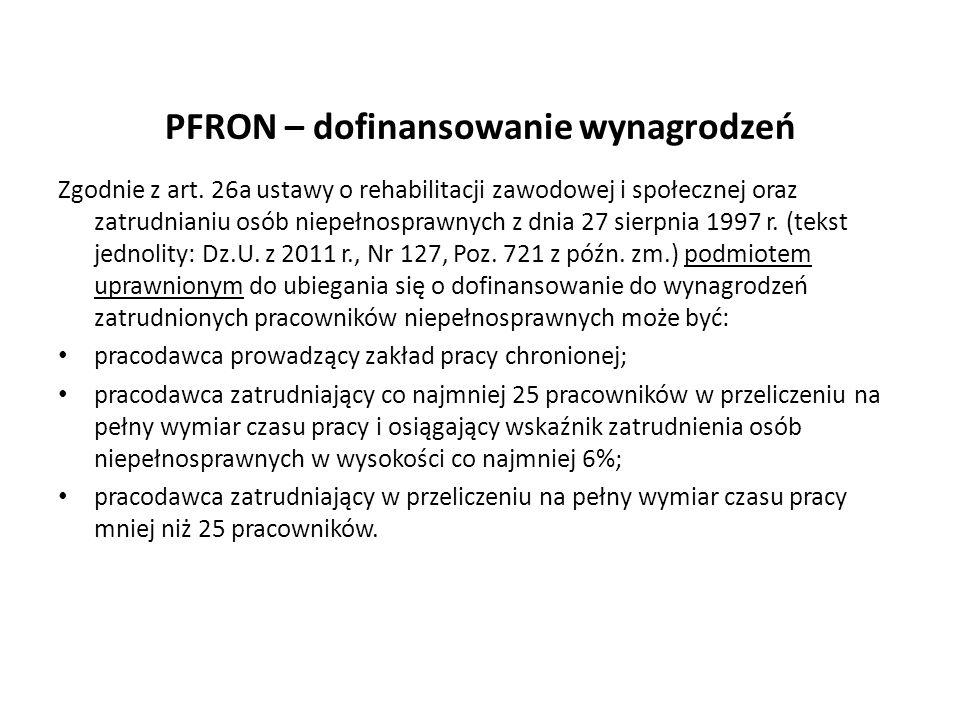PFRON – dofinansowanie wynagrodzeń