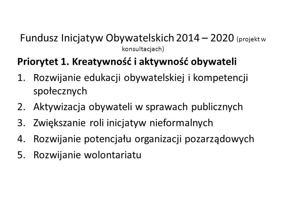 Fundusz Inicjatyw Obywatelskich 2014 – 2020 (projekt w konsultacjach)
