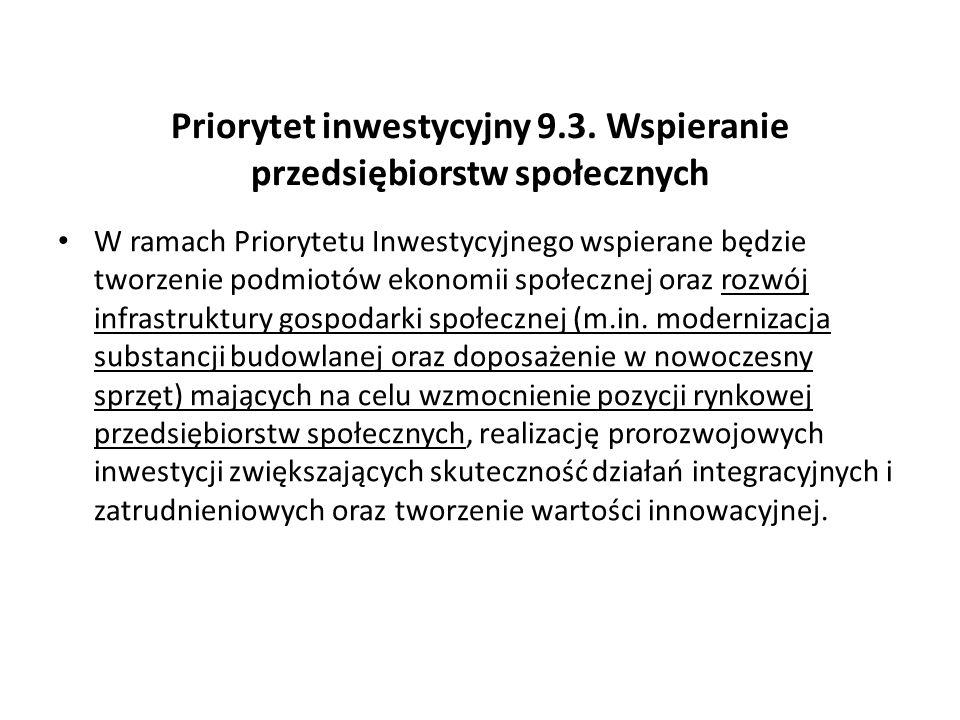 Priorytet inwestycyjny 9.3. Wspieranie przedsiębiorstw społecznych