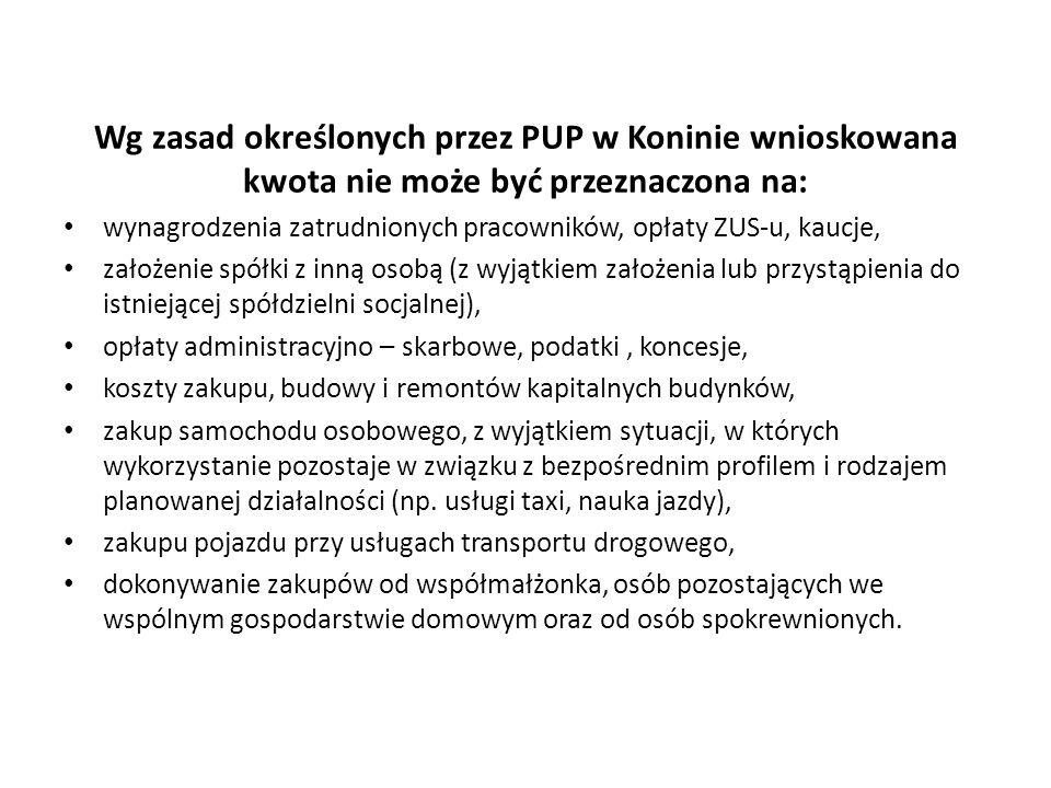 Wg zasad określonych przez PUP w Koninie wnioskowana kwota nie może być przeznaczona na: