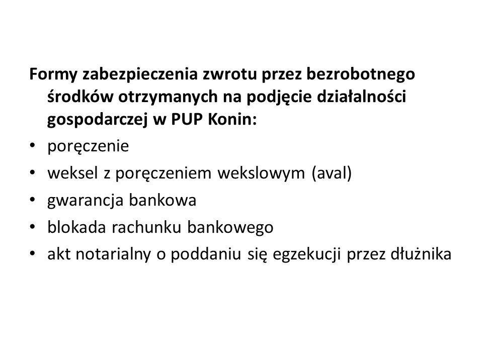 Formy zabezpieczenia zwrotu przez bezrobotnego środków otrzymanych na podjęcie działalności gospodarczej w PUP Konin: