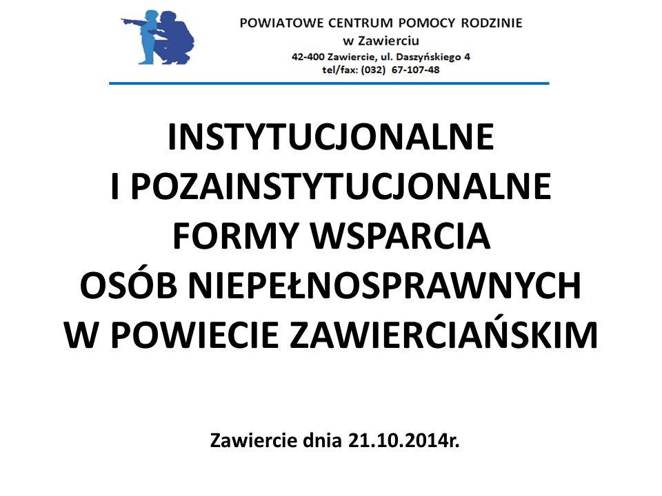INSTYTUCJONALNE I POZAINSTYTUCJONALNE FORMY WSPARCIA OSÓB NIEPEŁNOSPRAWNYCH W POWIECIE ZAWIERCIAŃSKIM Zawiercie dnia 21.10.2014r.