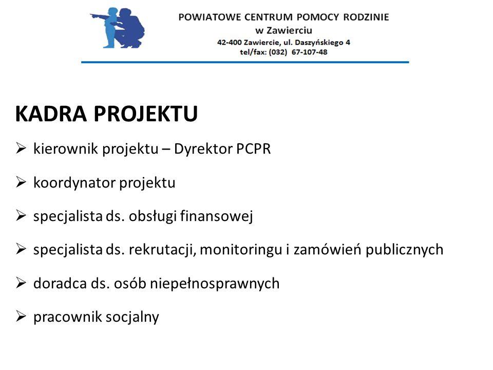 KADRA PROJEKTU kierownik projektu – Dyrektor PCPR koordynator projektu