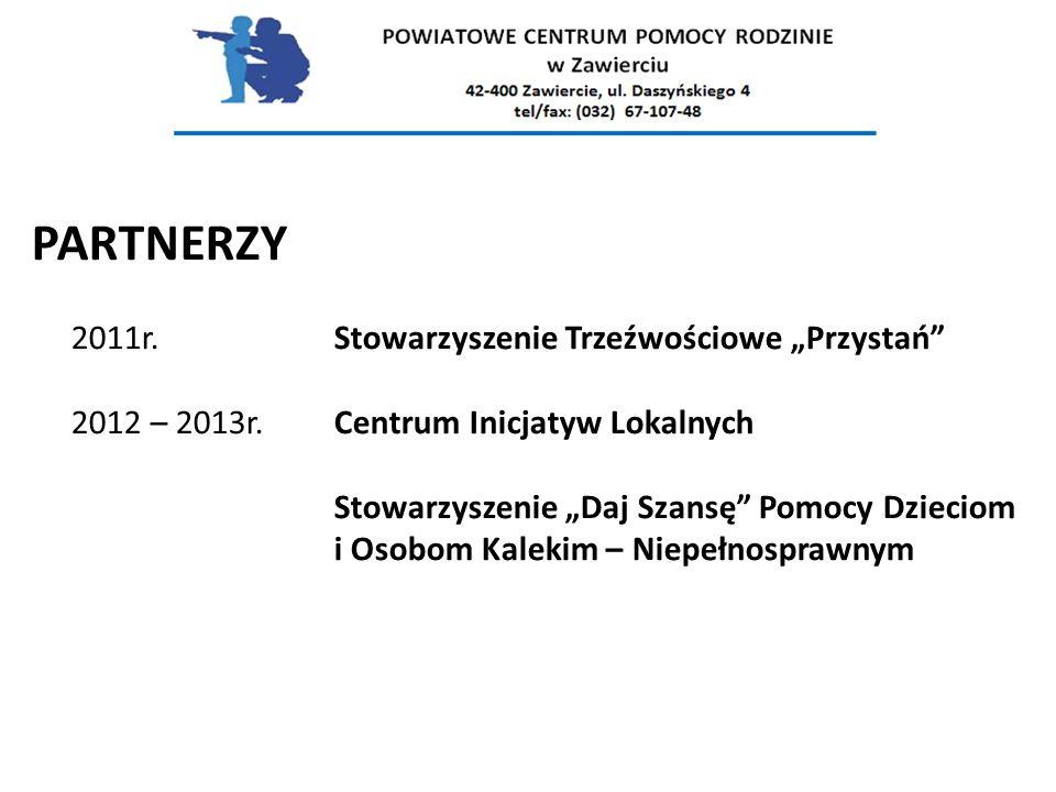 """PARTNERZY 2011r. Stowarzyszenie Trzeźwościowe """"Przystań . 2012 – 2013r"""