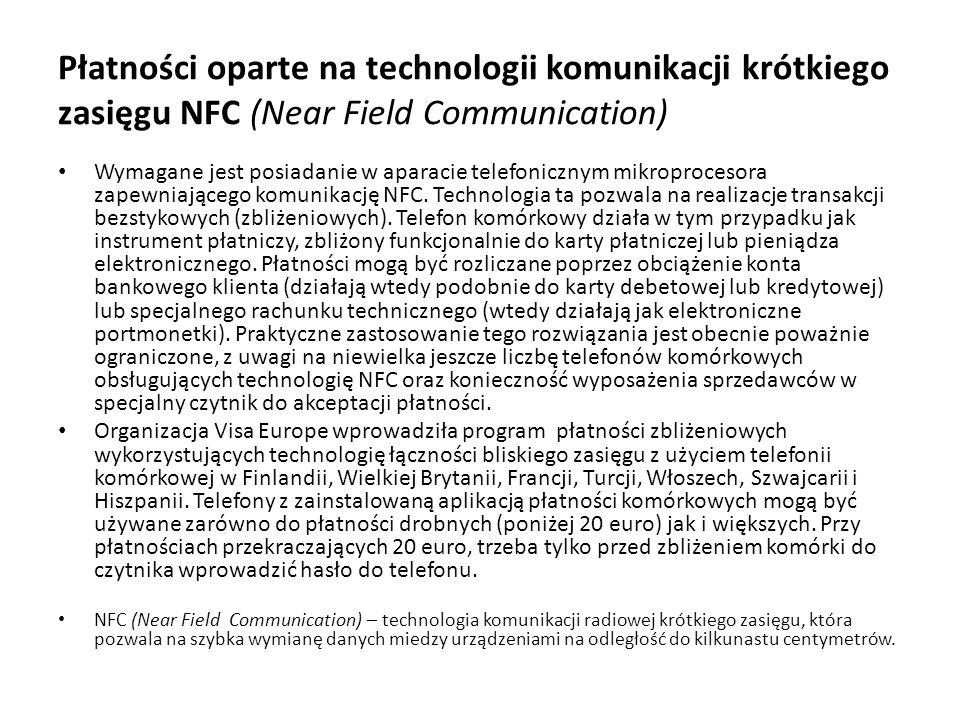 Płatności oparte na technologii komunikacji krótkiego zasięgu NFC (Near Field Communication)