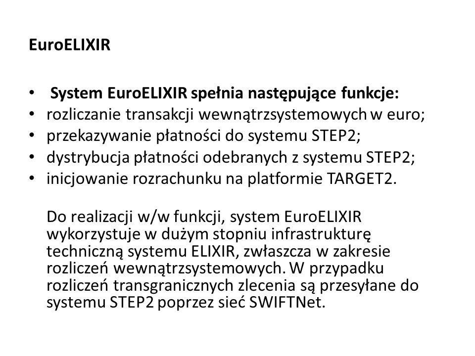EuroELIXIR System EuroELIXIR spełnia następujące funkcje: