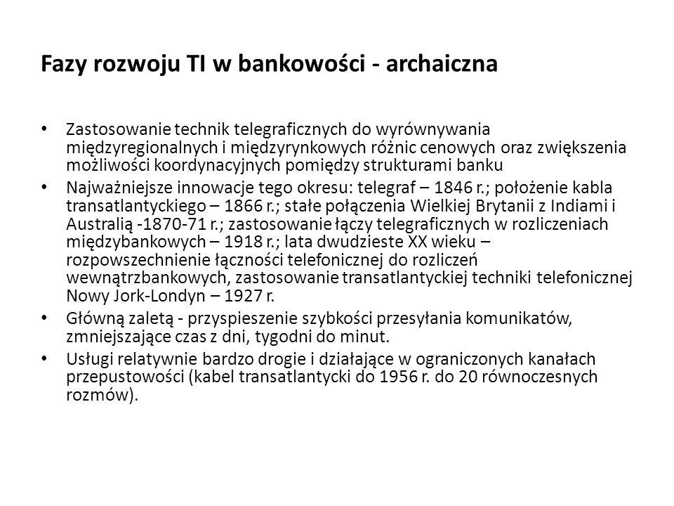 Fazy rozwoju TI w bankowości - archaiczna