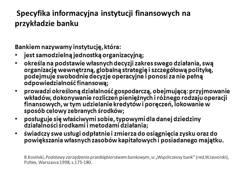 Specyfika informacyjna instytucji finansowych na przykładzie banku
