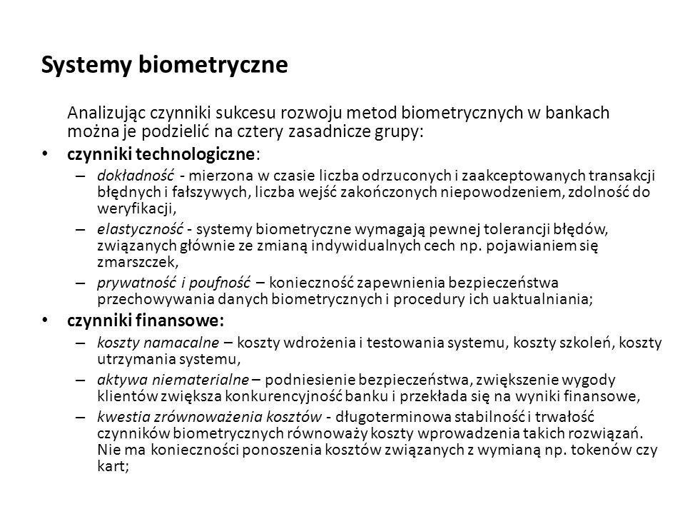 Systemy biometryczne Analizując czynniki sukcesu rozwoju metod biometrycznych w bankach można je podzielić na cztery zasadnicze grupy: